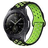 MroTech Correa Gear Sport 20mm Banda liberación rápida Pulsera de Silicona Compatible para Samsung Gear S2 Classic, Galaxy Watch 42mm, Amazfit Bip, Ticwatch E / 2, Vivoactive 3 y más (Negro Verde)