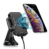 Cargador Inalámbrico Coche CHOETECH Ajustable Fast Wireless Car Charger Soporte Carga Rápida 7.5W Compatible con iPhone 8/Xs/Xs Max/XR/X/8 Plus, 10W Galaxy S10/Note 9/S8/S7, 5W Teléfonos Qi-Enabled