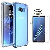 MISSDU Compatible con Funda Samsung Galaxy S8 Funda y Protector de Pantalla *2, Transparente Silicona TPU Fundas Crystal Shell Case Panel Trasero Transparente y Esquinas reforzadas