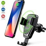 Heiyo Cargador Inalámbrico Coche, 10W Qi Rápida Wireless Cargador de Coche Compatible con Samsung Galaxy S10 / S9 / S9 + / Note 9 / S8 / S8 + / Note 8, iPhone X/XR, 5W para iPhone X/iPhone 8/8 Plus