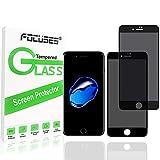 Focuses - Protector de Pantalla de privacidad para Apple iPhone 8 Plus/iPhone 7 Plus, 5D Curvado antiespía y Cobertura Total antihuellas 9H de Cristal Templado, 2 Unidades, Color Negro