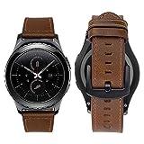 Bazal Correas 20mm Cuero Piel Pulseras Bandas Compatible con Samsung Galaxy Watch 3 41mm/Galaxy Watch 42mm/Active 40mm/Huawei Watch 2/Gear S2 Classic/Sport Hombres (Reloj No Incluido) - Marrón