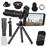 BWORPPY Kit de Lente de cámara, 22X Lente teleobjetivo, Accesorio de Lente de teléfono FOV con trípode para iPhone X / 8/7/7 Plus / 6s / 6/5, Samsung Galaxy La mayoría de los teléfonos Inteligentes