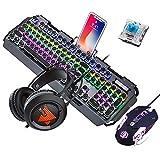 Guanwen Teclado mecánico para Juegos Ratón y Auriculares, Interruptor Azul RGB LED Metal Teclado con Cable + 3200 PPP Ratón + Auriculares para Juegos con luz de respiración de Colores