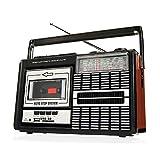 Ricatech PR85 - Reproductor y grabadora de casetes, Radio AM/FM/SW, USB, Ranura para tarjeta SD, Micrófono integrado, Parada automática, Ligero, Portátil, Conector para auriculares