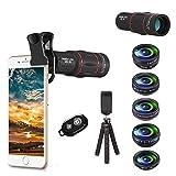 Apexel Kit de lentes para cámara de teléfono 18X, gran angular, lente macro, ojo de pez, lente caleidoscopio, filtro de estrella con trípode disparador remoto para iPhone Samsung y la mayoría