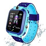 PTHTECHUS Smart Watch Telefono para Estudiante Niños, IP67 Impermeable Reloj, AGPS/LBS localizador Reloj del Teléfono SOS Chat de Voz Reloj de Cámara, Reloj Inteligente Regalo para Niño Niña(Azull)