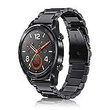 FINTIE Correa Compatible con Huawei Watch 3/3 Pro, Huawei Watch GT 2 Pro/GT 2/GT - Pulsera de Repuesto de Acero Inoxidable Banda Ajustable de Metal, Negro