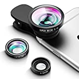 VicTsing Lente para Móviles 3 en 1 Kit de Lentes, Lente Ojo de Pez de 180°+10X Lente Macro+Gran angular 0.4X para iPhone 8/7/6/5/5s, iPad Air 2/1, Samsung, Huawei, xiaomiAndroid etc