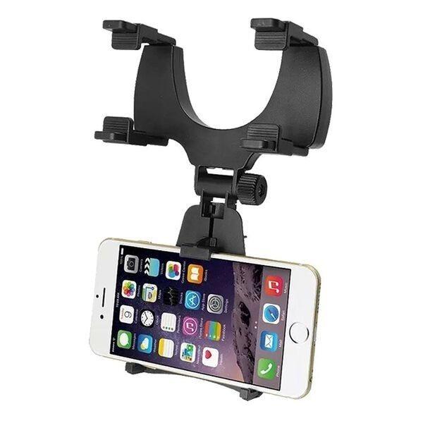 Agarrar el móvil con pinza al espejo retrovisor