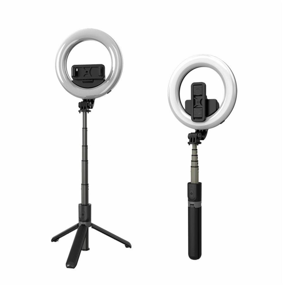 Aro de luz led portátil y trípode palo selfies