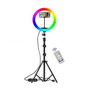 Aro luz led con 26 colores RGB, trípode, mando a distancia y soporte móvil