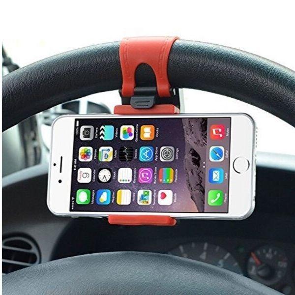 Soporte con pinza para móvil en el volante