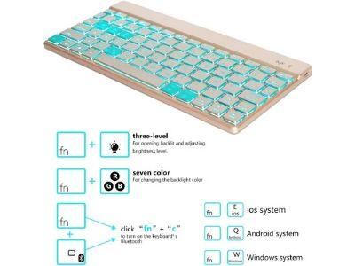 Teclado Bluetooth Retro iluminado