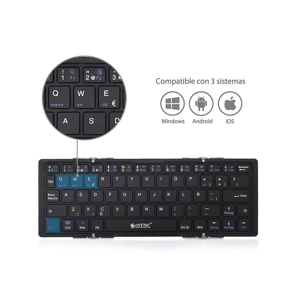 Teclado Bluetooth para tablet triplegable ESYNIC