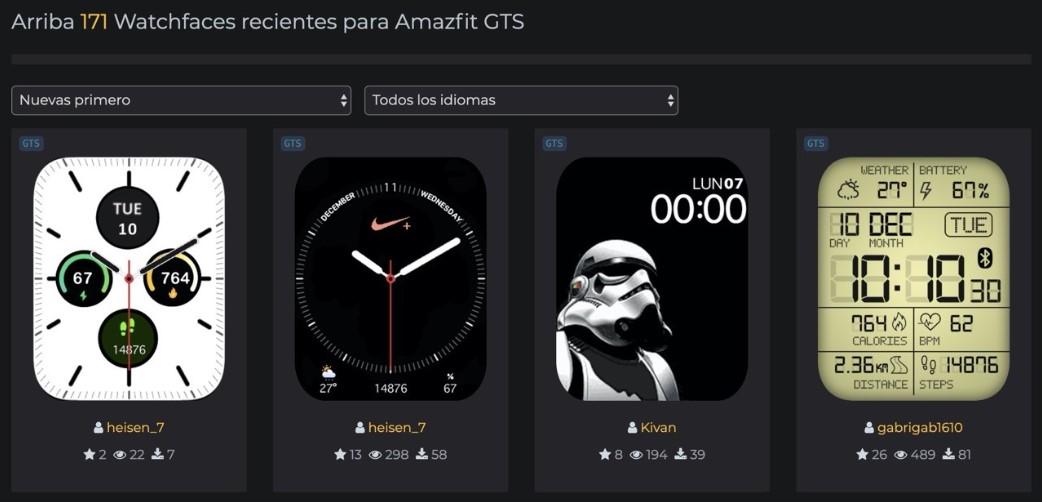 Whatchfaces para Amazfit GTS
